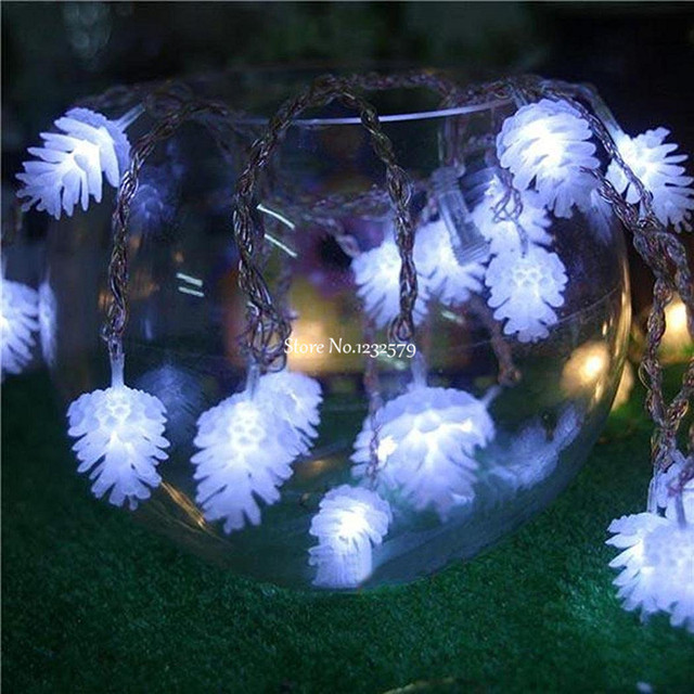 50 led pine cone battery string lights christmas tree garden decoration 5m fairy twinke lights