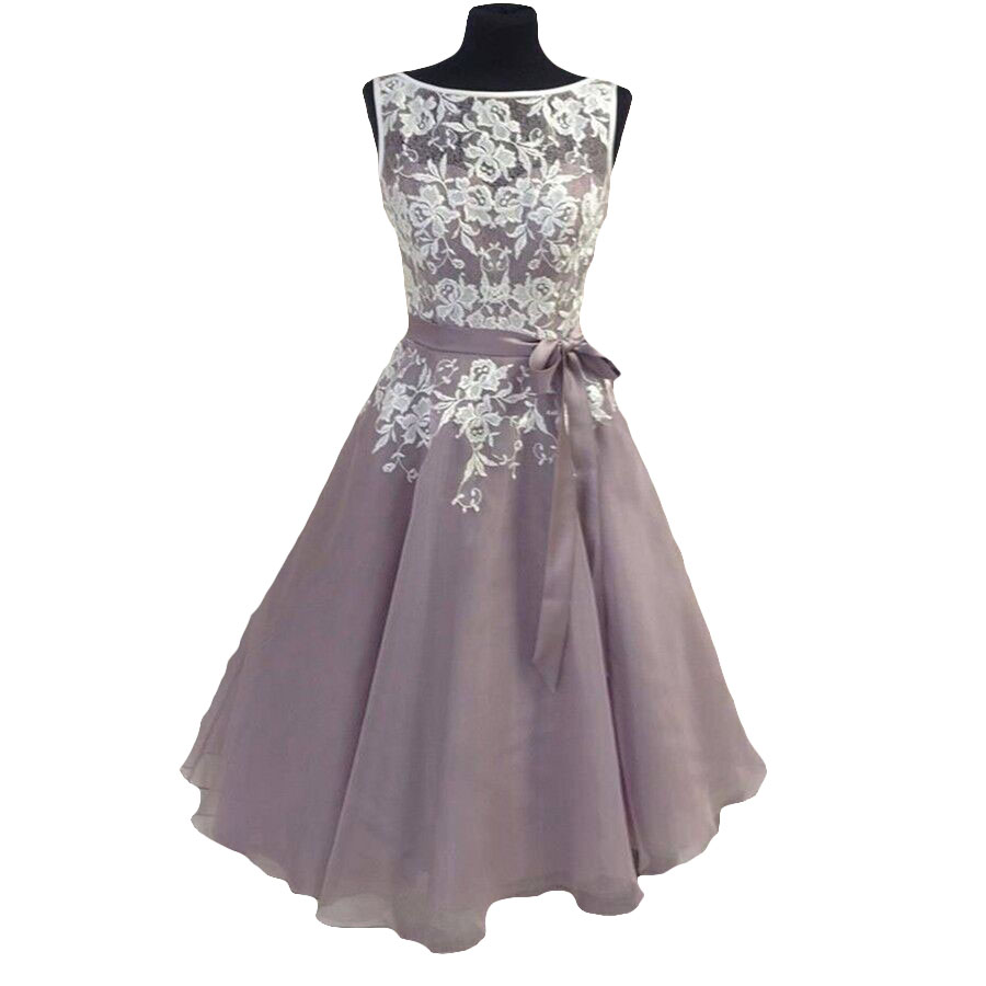 Knee length tulle dusty purple bridesmaid dress with white for Purple dresses for weddings knee length