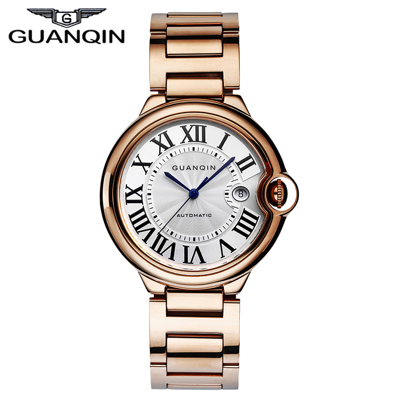 GUANQIN GQ00898 balloon series Luxury Brand Automatic self-wind mechanical men's business watch  rose gold relogio masculino original binger mans automatic mechanical wrist watch date display watch self wind steel with gold wheel watches new luxury