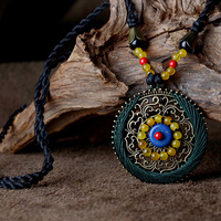 Sweater Vintage Long Maxi Necklace For Women Blue Turquoise Yellow Agate Bronze Round Pendant 76cm Chain