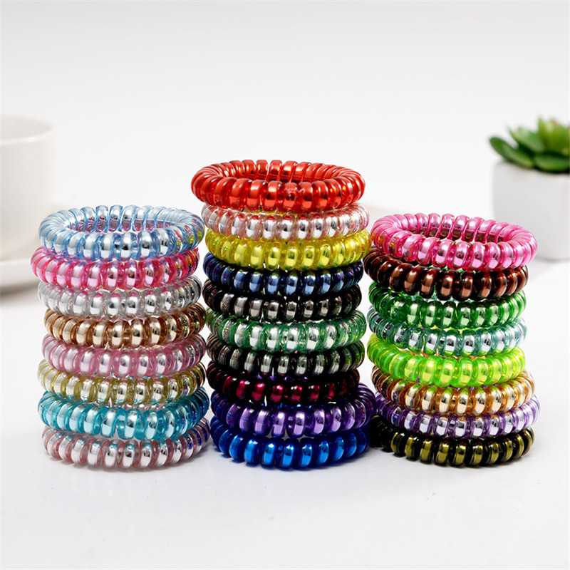 6Pcs/lot Girls Women Headband Solid Hairband Cute Candy High Elastic Hair Bands Punk Girl Ring Telephone Wire Hair Accessories metting joura women girls bohemian punk vintage braided silver metal seed beads knitted flower headband hair accessories