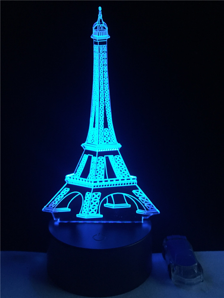 Luzes da Noite 3d fashion frança torre eiffel Function 4 : Lampada Led/lamparas/led Lamp Indoor
