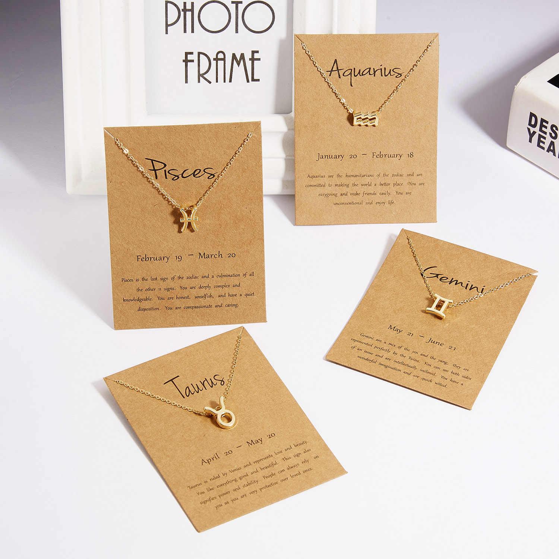 Rinhoo nowy styl 12 konstelacji wisiorek naszyjnik z kartą zodiaku znak złoty naszyjnik kobiety mężczyźni urodziny biżuteria prezenty