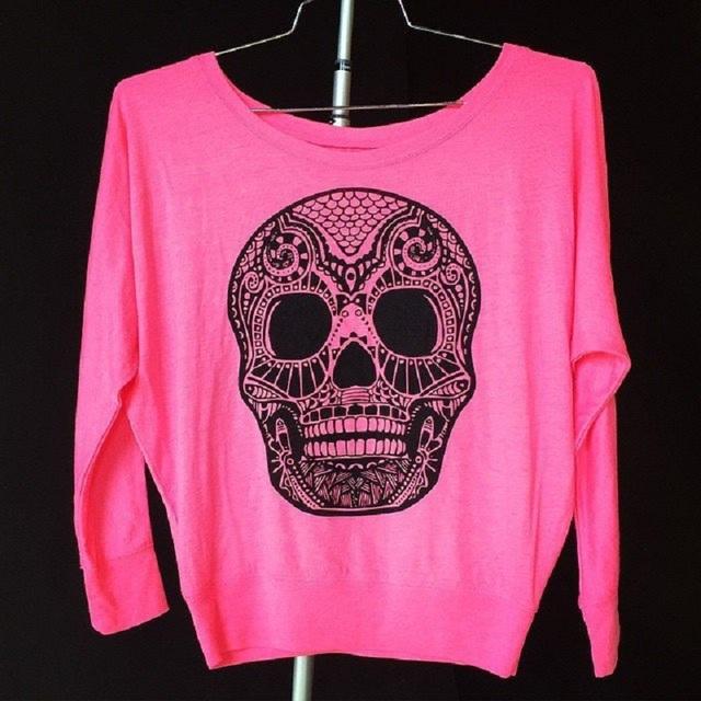 Punk Rock Largas Mujeres de la Camiseta de Algodón de Gasa Skeleton Imprimir Larga manga Más El Tamaño de La Camiseta Superior Primavera Otoño Camiseta Femme NKLT1