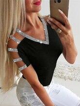 2019 New Summer Women Elegant Short Sleeve Leisure Top Female Leisure OL Basic Shirt Glitter Ladder Cutout Sleeve Casual Blouse ladder cutout sleeve jumper