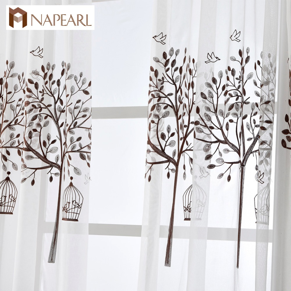 Embroidered Tulle Linen Curtains White Modern Window Drapes Voile Brown  Tree Design Bedroom Kid Room Kitchen