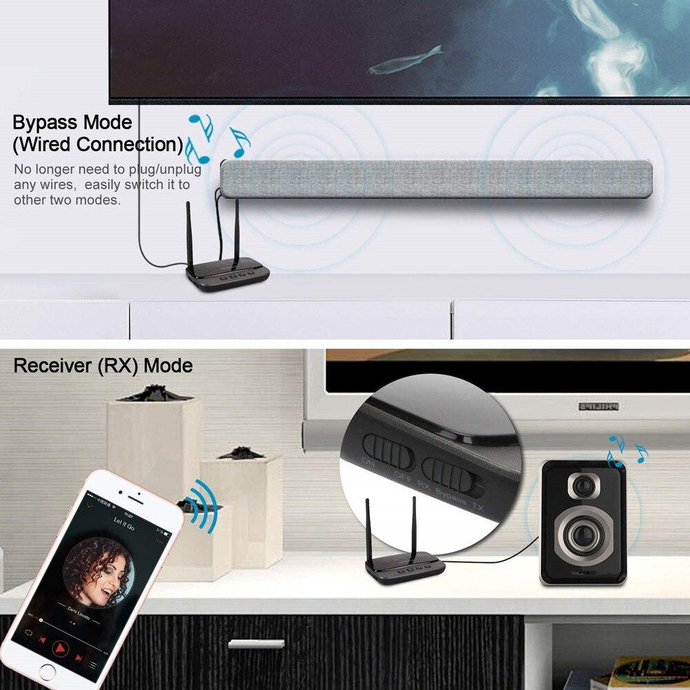 NFC y 262ft/80 m de largo alcance Bluetooth 5,0 transmisor receptor 3in1 de adaptador de Audio de baja latencia tecnología aptX HD óptico RCA AUX 3,5mm TV - 4