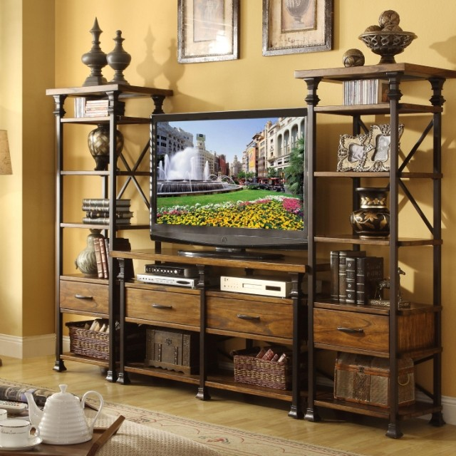 High Quality Vintage American Country Style Wood TV Cabinet Combination Iron Bookshelf Backdrop Creative Decorative Frame