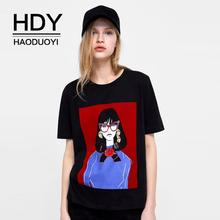 HDY Haoduoyi Short Sleeve Women Tshirt Cotton Tops Harajuku Aesthetics Print Cartoon Decoration O-Neck Female Black Tees