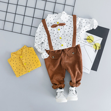 hot deal buy zwxlhh 2019 new style baby boy clothing sets gentleman style children kids clothing sets toddle shirt +bib pants casual suit