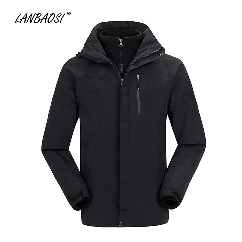LANBAOSI 3 in 1 Softshell Jackets for Men Outdoor Sports Mountain Hiking Climbing Camping Skiing Windproof Thermal Winter Coat outdoor carabiner 3 claw grappling hook rock climbing mountain gear