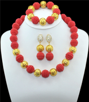 Fashion African beads jewelry set red beads bride jewelry nigerian wedding african beads jewelry Set GG-422