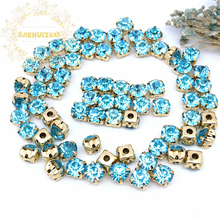 3mm 4mm 5mm 6mm 7mm 8mm Turquoise blue Diamond shape Glass Crystal rhinestones with gold claw Diy wedding dress accessories