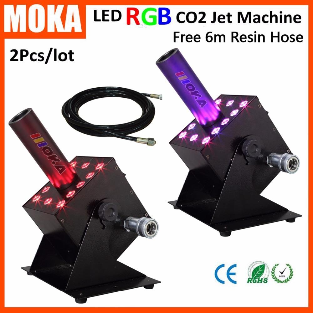 2kpl / erä 12 * 3W RGB -värivaiheinen CO2-suihkukone 110V / 240V DMX-ohjattava Led CO2-tykki-suihkukone