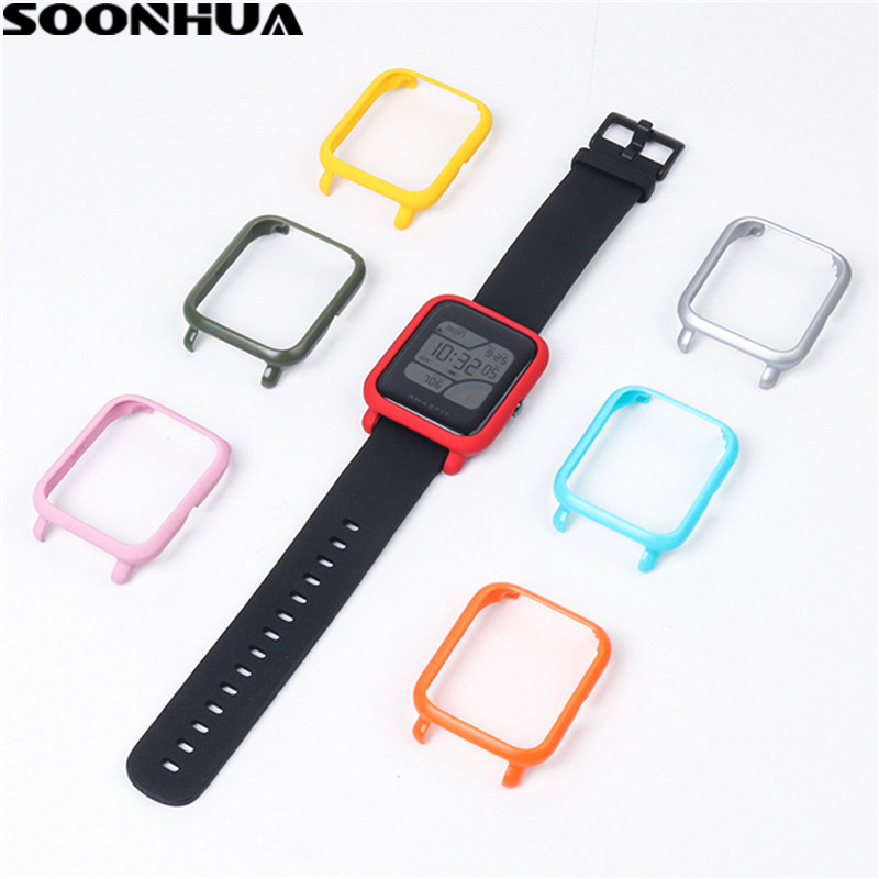 SOONHUA Slim Colorful Watch Frame PC Case Cover Protect Shell For Huami Amazfit Bip Younth Watch Hard Plastic Protective Case kinston colorful butterfly pattern protective plastic hard back case for iphone 5 5s white red
