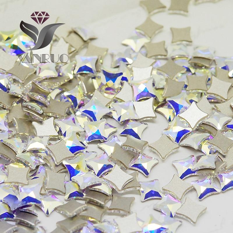 YANRUO 72pcs 6mm AB Crystal Starlet Flatbacks No-Hotfix Rhinestones - Dırnaq sənəti - Fotoqrafiya 4