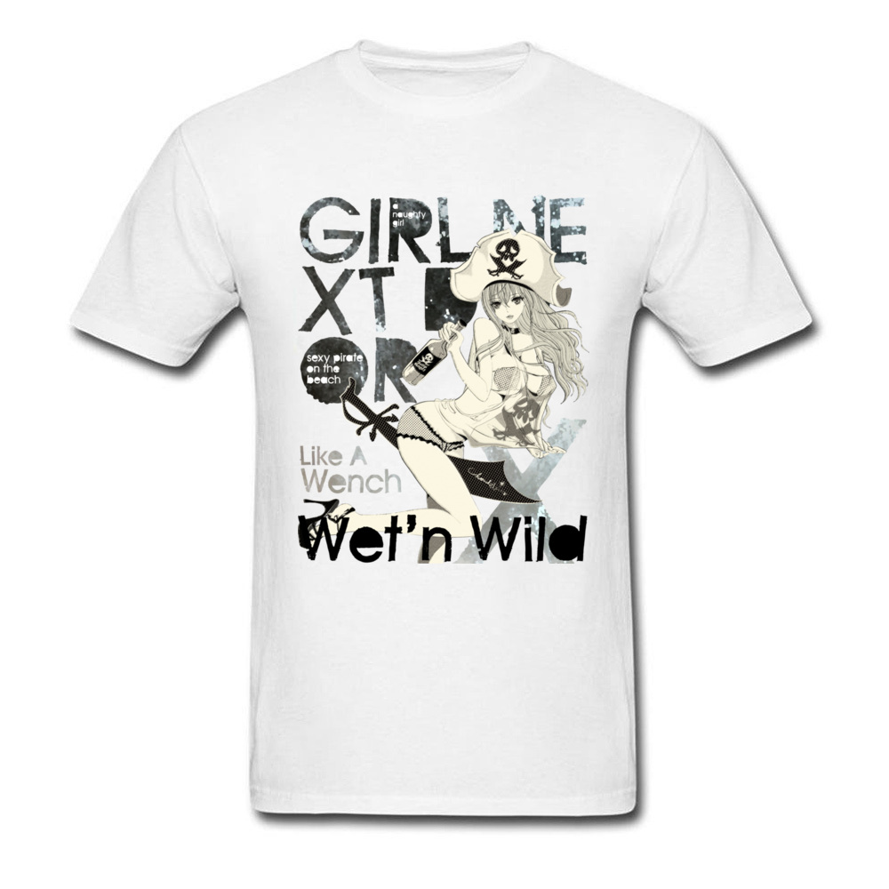 Pin Up Pirate Girl T Shirt Sex Mens White Novelty Tshirt Plus Size Funny Mens T-Shirt Fashion Sexy Hip Hop Punk T Shirt Retro