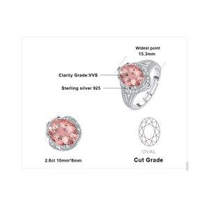 Image 5 - JewelryPalace בציר פיצול Shank 3ct סגלגל נוצר Morganite ספיר מתכוונן להרחיב טבעת 925 כסף סטרלינג תכשיטי ביצוע