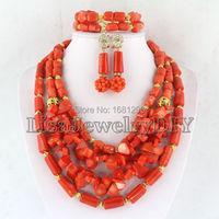 Orange African Nigerian Wedding Beads Jewelry Set Coral Jewelry Set Coral Beads Necklace Set African Jewelry Sets HD0298
