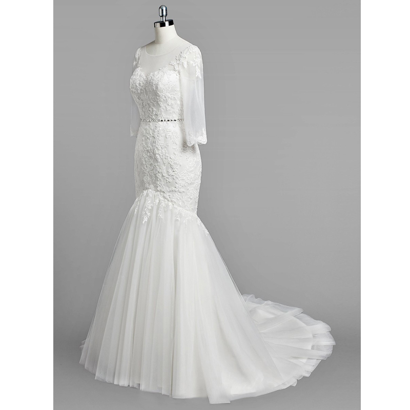 674c47daaa3 Lewande Modest Trumpet Mermaid Scoop Neck Tulle Sweep Train Appliques Lace  3 4 Sleeve Wedding Dresses Beading