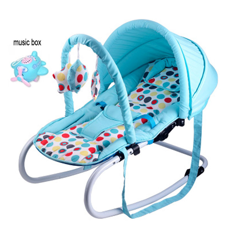 Functional Portable Newborn Infant Baby Trolley Swing Cradle Baby Rocking Chair Recliner Bouncer with Toys and Music Box 0~15 M baby rocker stroller newborn baby rocking hose swing chair cradle portable baby bouncer toddler sleeping lounge seat recliner