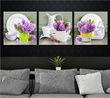 Nordic simplicity Lavender vase tableware decoration for kitchen beautiful canvas paintings 3 pieces No Framed