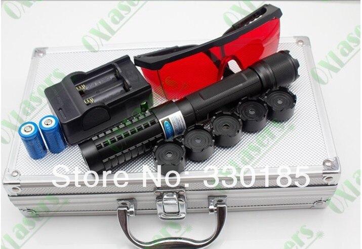 50 m 50000 W 450nm de alta potência ponteiros laser Azul Lanterna Lazer Queima jogo/papel/madeira seca/ preto/queimar cigarros + Óculos + gift