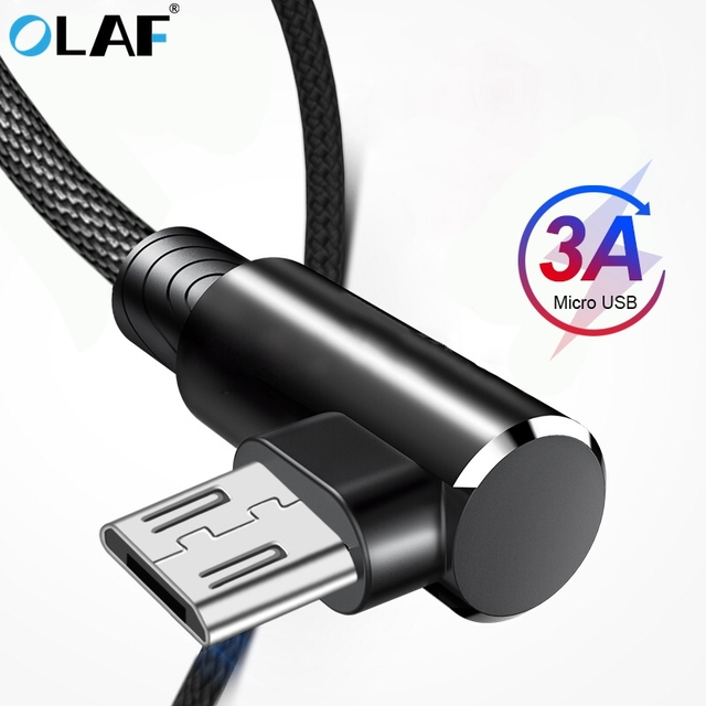 OLAF 90 Degree Micro usb cable Fast charging cable For Phone Game Right angle Mobile phone cables USB micro 2.0 Cable Android