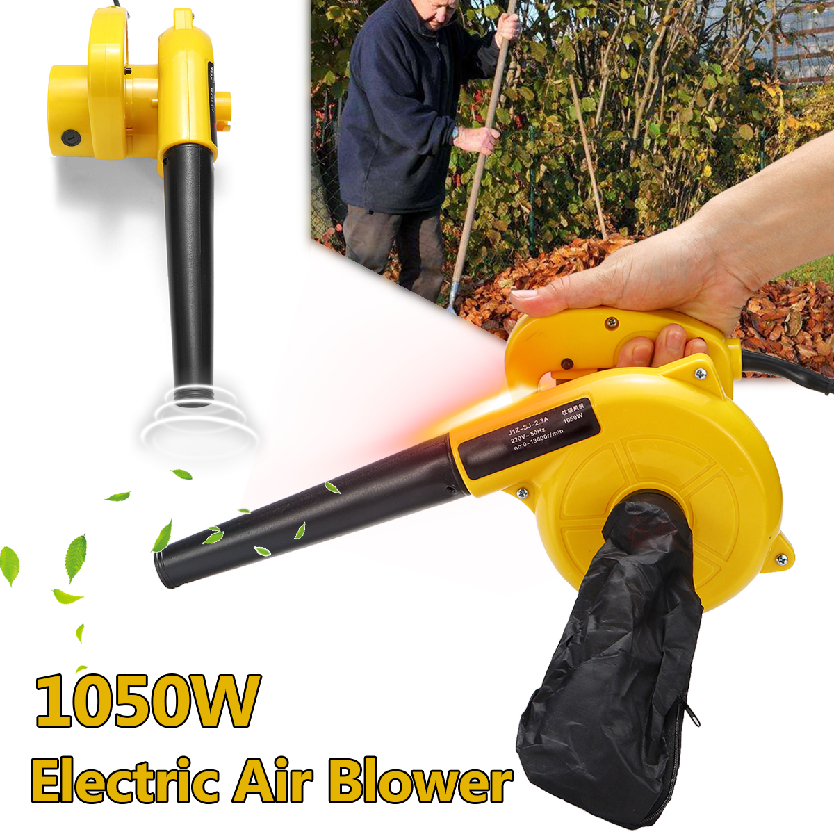 220V 1050W Electric Air Blower Portable Handheld Dust Collector Fan Spray Vacuum Cleaner Car Garden Studio Leaf Blowing Remover