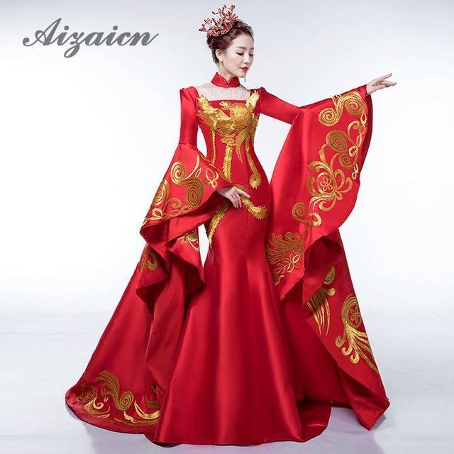 Us 109 5 25 Off Luxe Rode Tailing Avondjurk Elegante Modeshow Borduurwerk Goud Phoenix Cheongsam Jurken Traditionele Chinese Trouwjurk In Luxe Rode