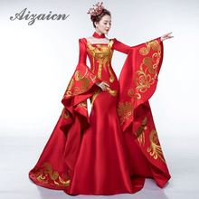Luxury Red Tailing Evening Dress Elegant Fashion Show Embroidery Gold Phoenix Cheongsam Dresses Traditional Chinese Wedding Gown