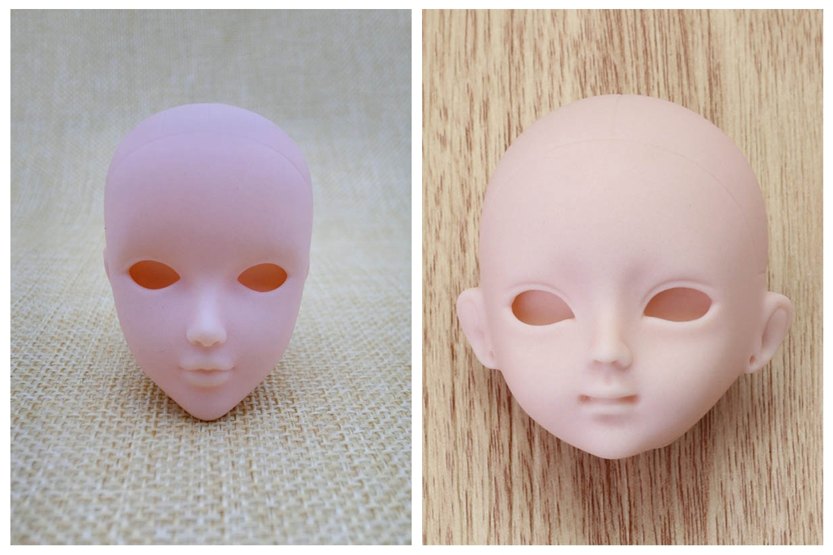 2pcs Soft Practice Makeup Doll Heads For  Doll For 1//6  BJD Doll HF