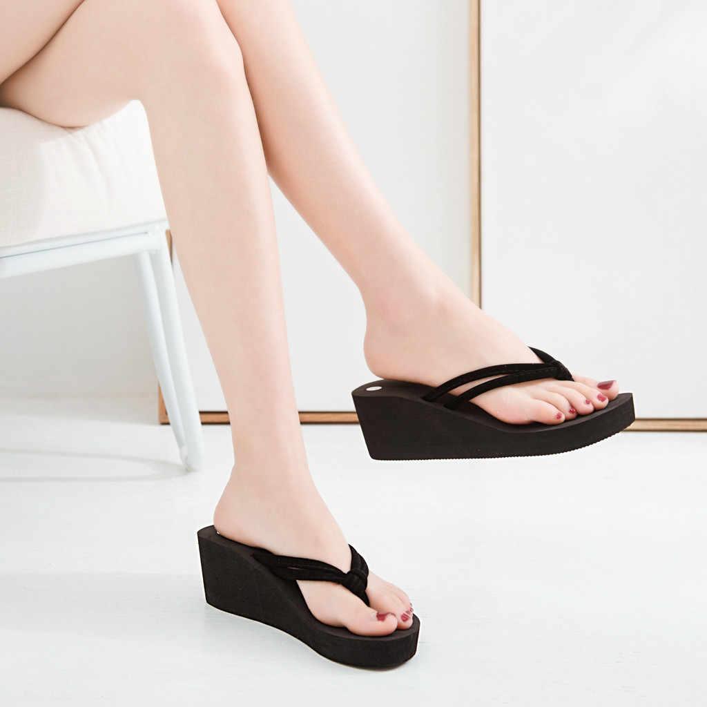 Ayakkabı kadın Flip flop katı yazlık terlik plaj takozlar ayakkabı rahat platformu terlik kadınlar Flip flop Тапочки Zapatos Mujer