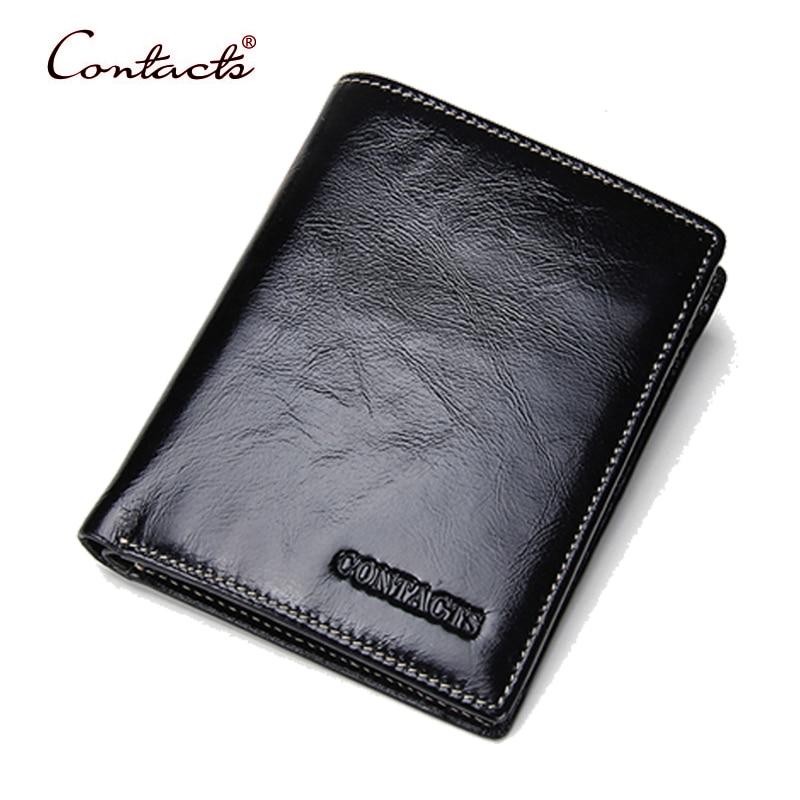 CONTACT'S Men Wallet Genuine Cowhide Leather Card Holder Coin Short 2017 Slim Cash High Quality Change Purse Balck Male Casual рюкзак deuter giga bike цвет светло голубой синий 28л
