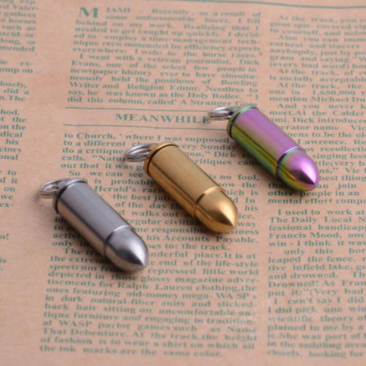 US $16 55 8% OFF|Mini Titanium Waterproof Bullet Shape Necklace Pendant  Medicine Box Pill Case-in Outdoor Tools from Sports & Entertainment on