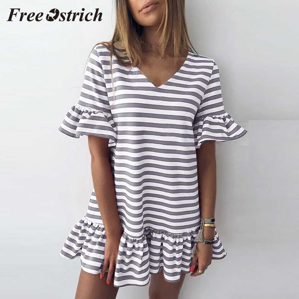 משלוח יען 2019 אופנה נשים פרפר שרוול צווארון V פס הדפסת ראפלס קצר מיני שמלת נוער תלמיד הסטודנטיאלי סגנון שמלה