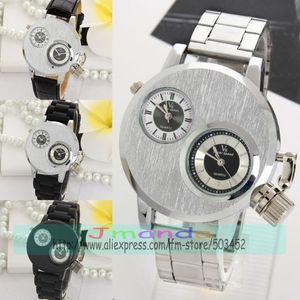 Image 1 - 100 teile/los V6 Silber Stahl Uhr Mode Männer Business Silikon Strap Zwei Bewegung herren uhren top marke luxus