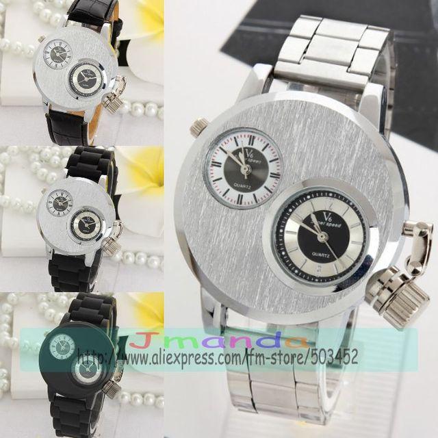100 teile/los V6 Silber Stahl Uhr Mode Männer Business Silikon Strap Zwei Bewegung herren uhren top marke luxus