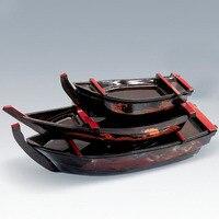 35 48 53CM Simple Japanese ABS Plate Black Sashimi Boat Serving Tray Japanese Restaurant Sushi Boat