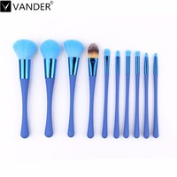 10Pcs Lot Blue Makeup Brush Set Powder Foundation Facial Eyeshadow Blush Contour Brush For Face Make