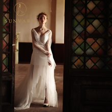 Sunvary V Yaka Yüksek Düşük Gelinlik Fermuar Dantel Sheer Sapanlar Gelin Elbise Sequins Boncuk Özelleştirilmiş Beyaz Evlilik Elbiseler
