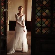 Sunvary V - 목 높은 - 낮은 웨딩 드레스 지퍼 레이스 쉬어 스트랩 웨딩 드레스 맞춤 구슬 맞춤형 화이트 결혼 드레스