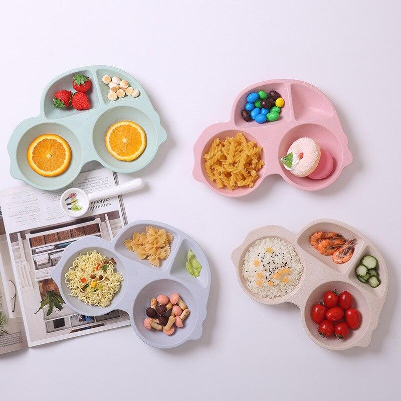GZZT Bamboo Fiber Children Plate Multifunctional Dishes Cartoon Shape Dinnerware Sets Bowl Kids Rice Feeding Tableware
