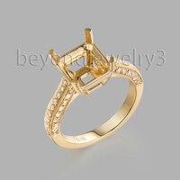 Semi Mount кольцо настройки 18 K из желтого золота с бриллиантом обручальное кольцо, Изумрудное кольцо 9x8 мм 750 золотые ювелирные изделия с бриллиа