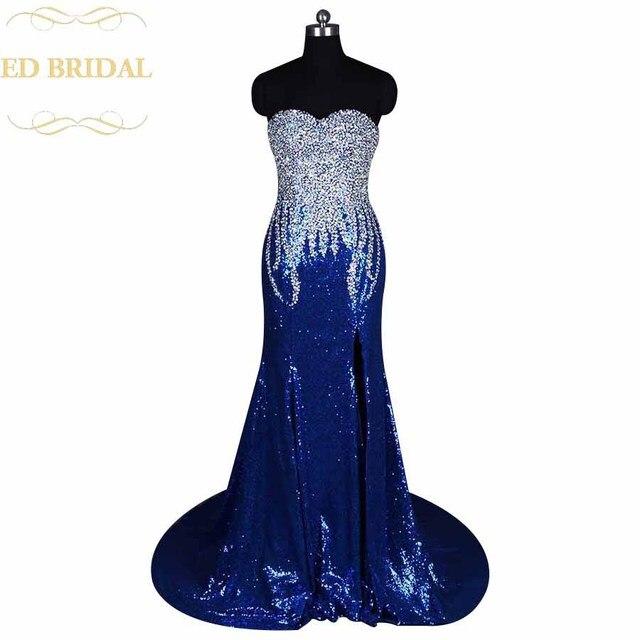 Real Sample Sparkly Pailletten Perlen Hohe Slit Abendkleid Royal ...