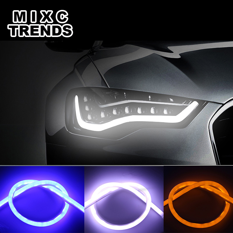 Car Daytime Running Light Universial Flexible Soft Tube Guide Car LED Strip DRL 2pcs 30cm White Yellow Red Blue MIXC TRENDS 2pcs 12v car drl led daytime running light flexible tube strip style tear strip car led bar headlight turn signal light parking