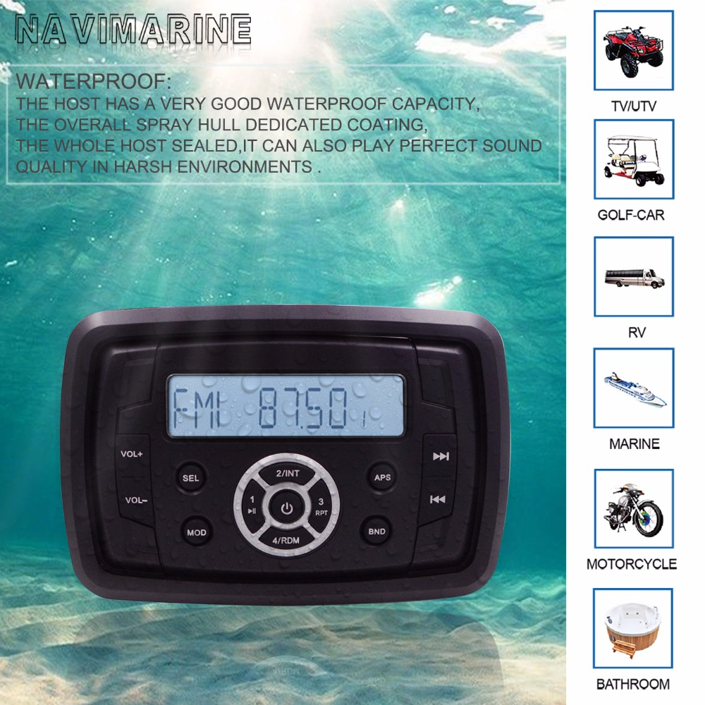 HASDA Waterproof Marine Stereo Receiver Radio Bluetooth Audio MP3 Player Sound System AMFM for ATV UTV Motorcycle Car Auto YachtHASDA Waterproof Marine Stereo Receiver Radio Bluetooth Audio MP3 Player Sound System AMFM for ATV UTV Motorcycle Car Auto Yacht