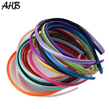 AHB 5pcs/lot Fashion Satin Solid Hairbands for Girls/Women Headband Hair Hoop 10mm Width Colorful Handmade Resin Kids Band