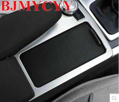 BJMYCYY Stainless Steel Car Console Gear Shift Decal Strips For Mercedes Benz C class W204 2008-14 Water Cup Holder Frame тягач 1 14 benz actros черный