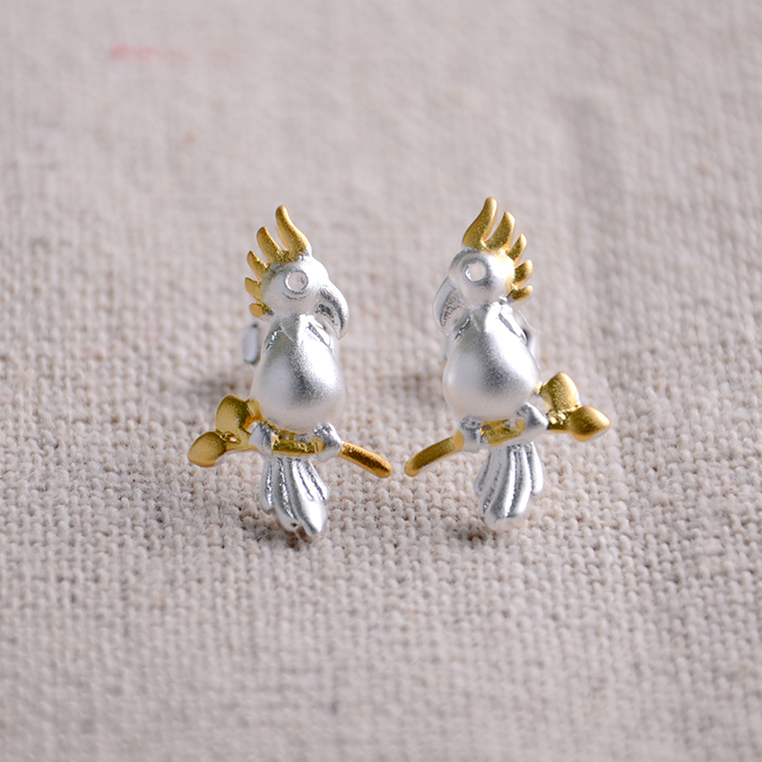 Qiming Fashion 925 Silver Cute Parrot Stud Earrings Unusual Design Vintage Sterling For Women Jewelry In From